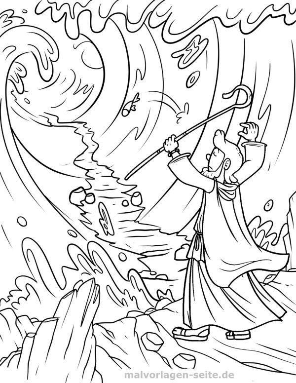 Malvorlage Moses teilt das Meer