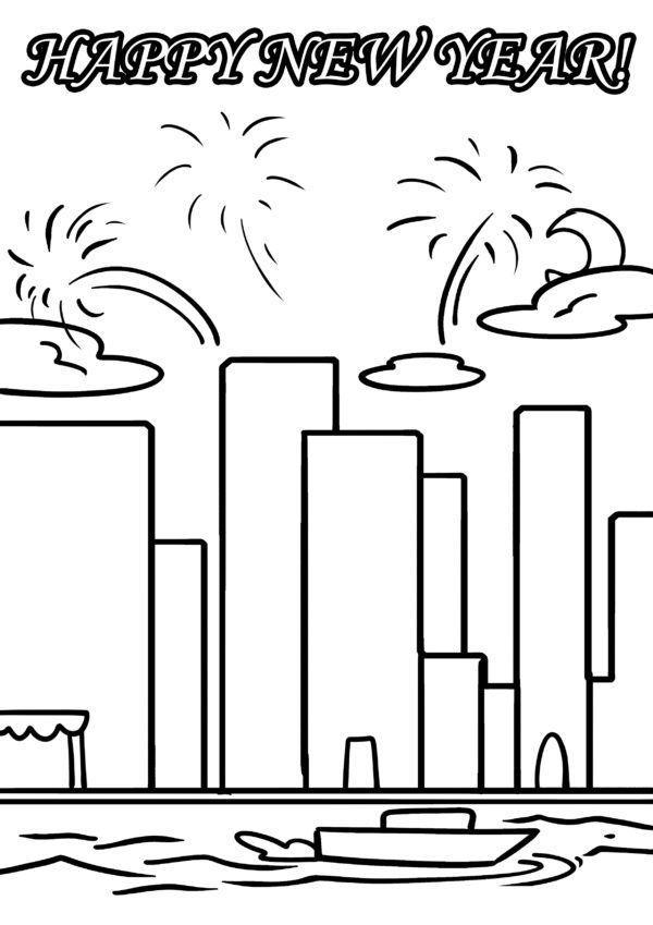 Malvorlage Happy New Year