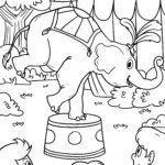 Coloring page circus elephant