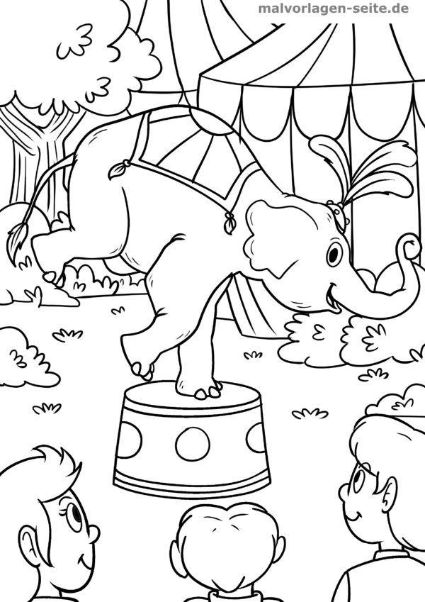 Coloring picture circus elephant
