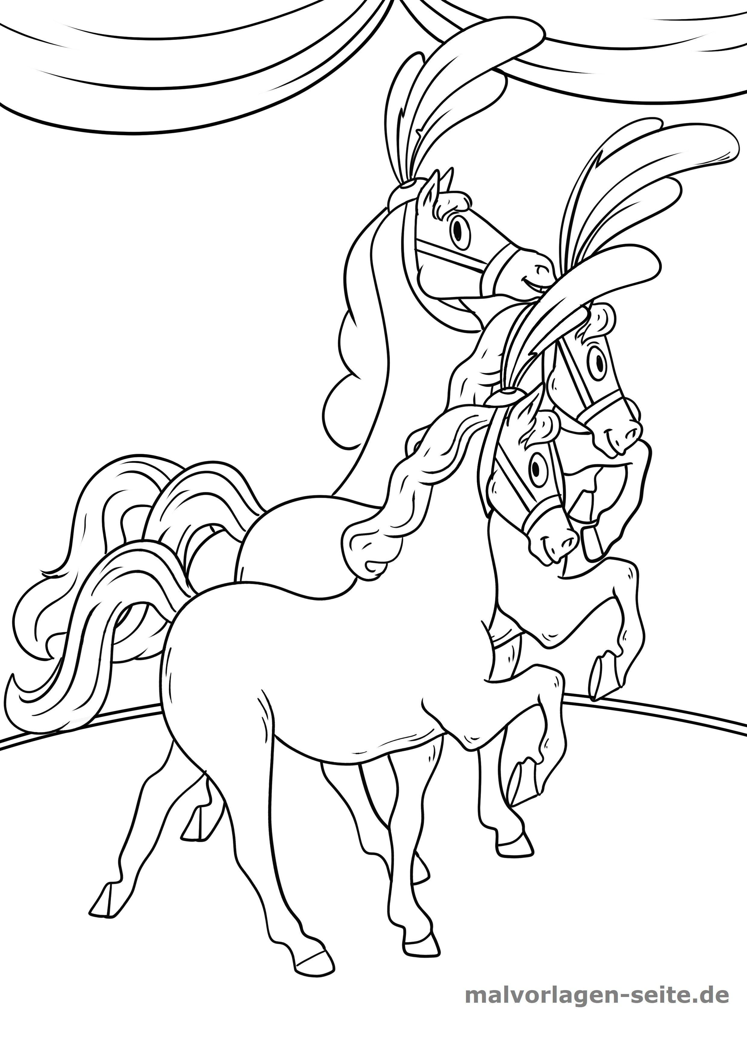 Malvorlage Zirkus Pferde - Kostenlose Ausmalbilder