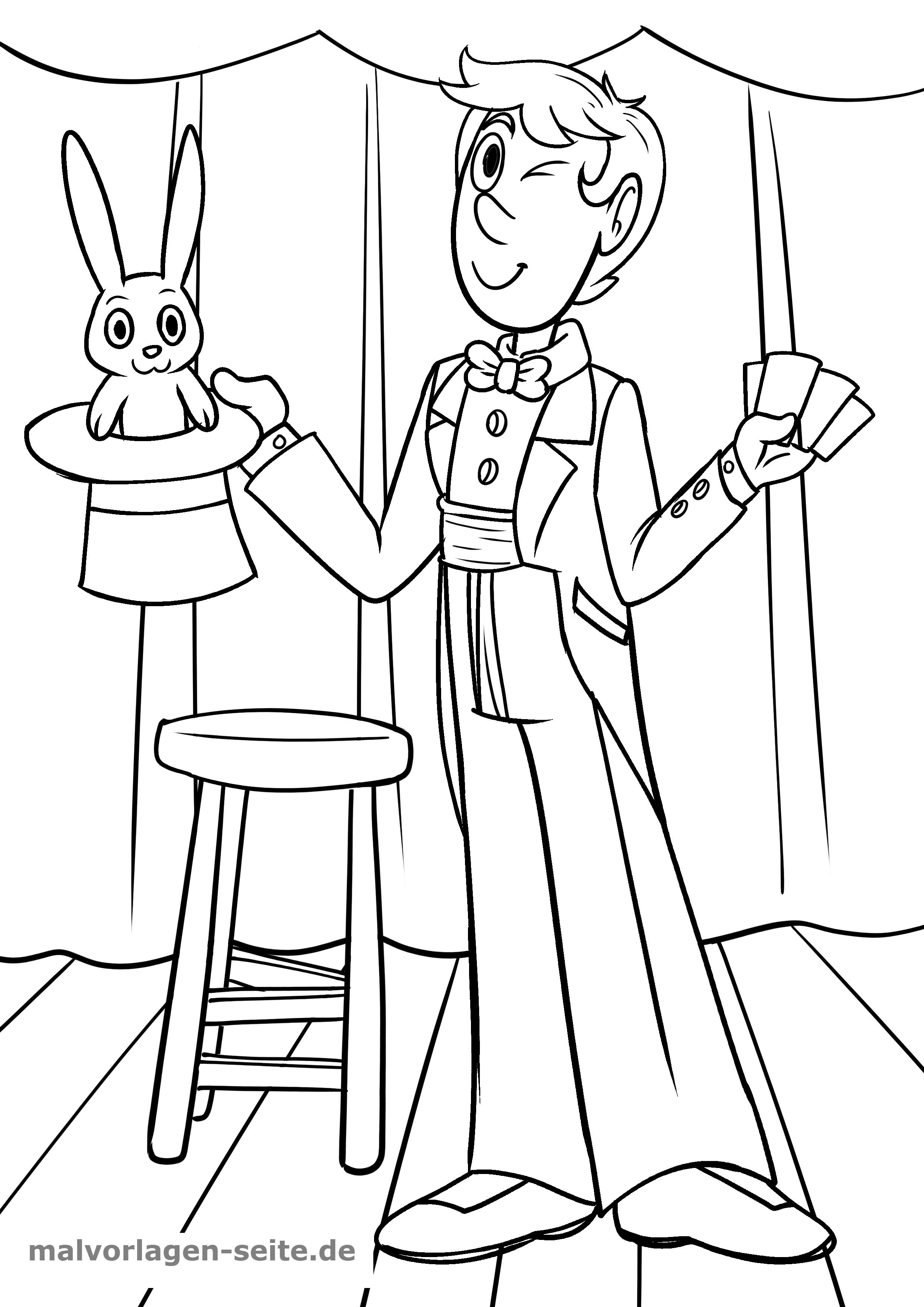 Malvorlage Zirkus Zauberer - Kostenlose Ausmalbilder