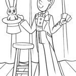 Coloring page circus magician