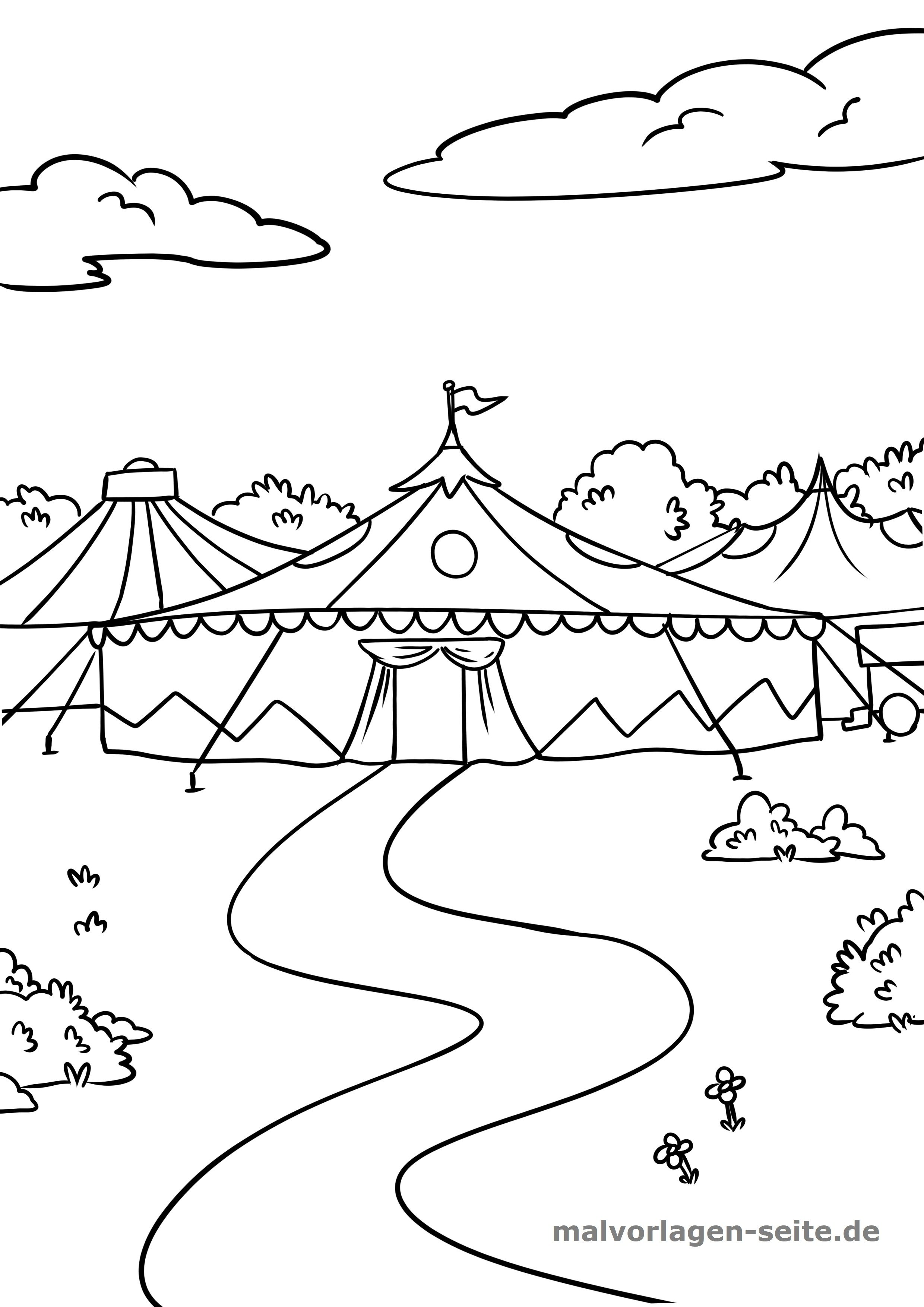 Malvorlage Zirkus Zirkuszelt