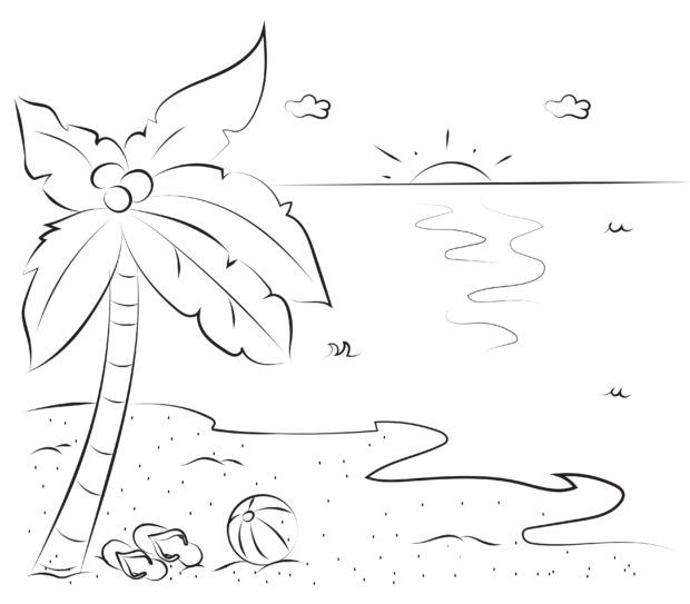 Fehlerbild Palme und Strand - Finde die Unterschiede