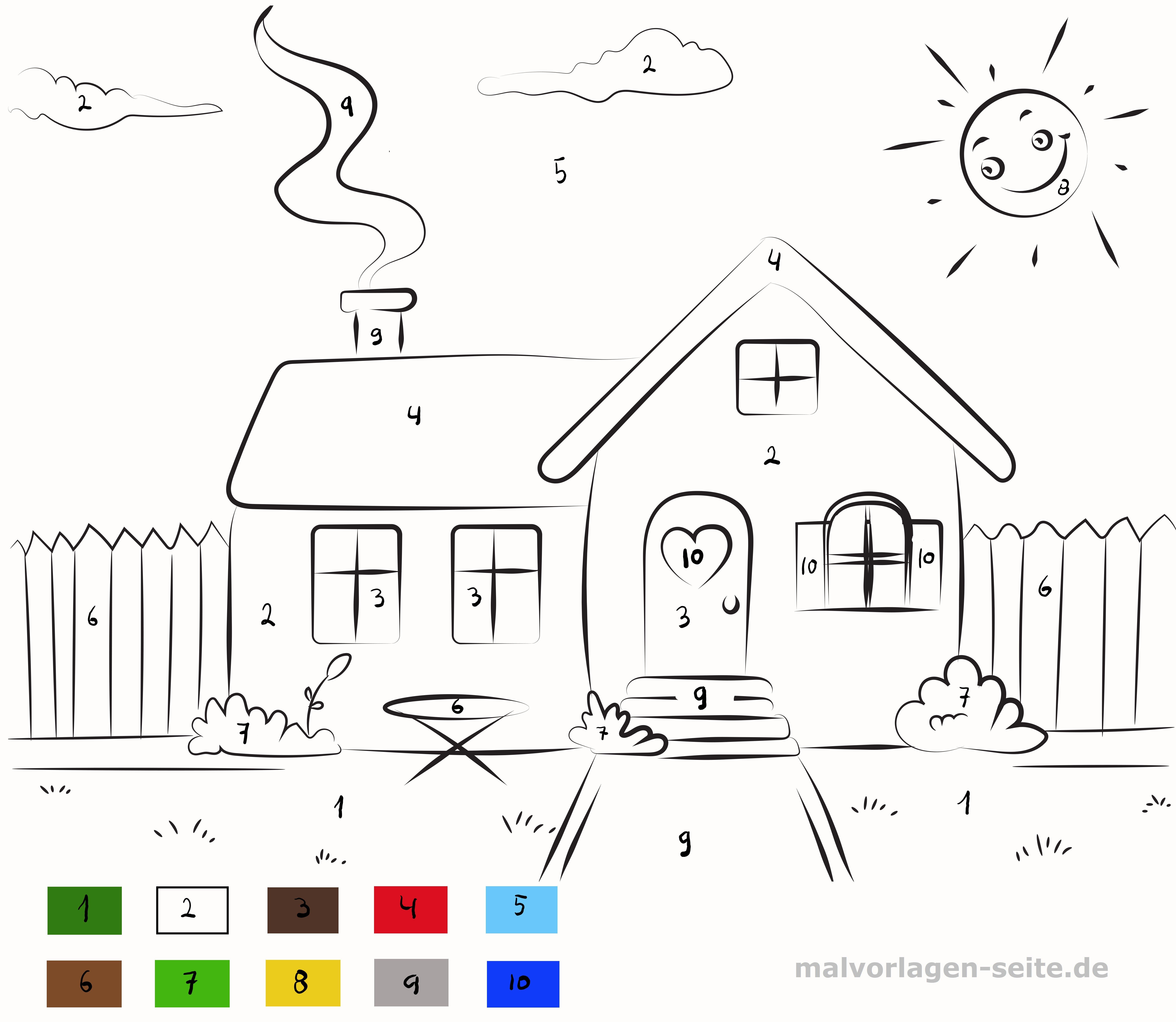 Malen nach Zahlen Haus - Kostenlose Ausmalbilder