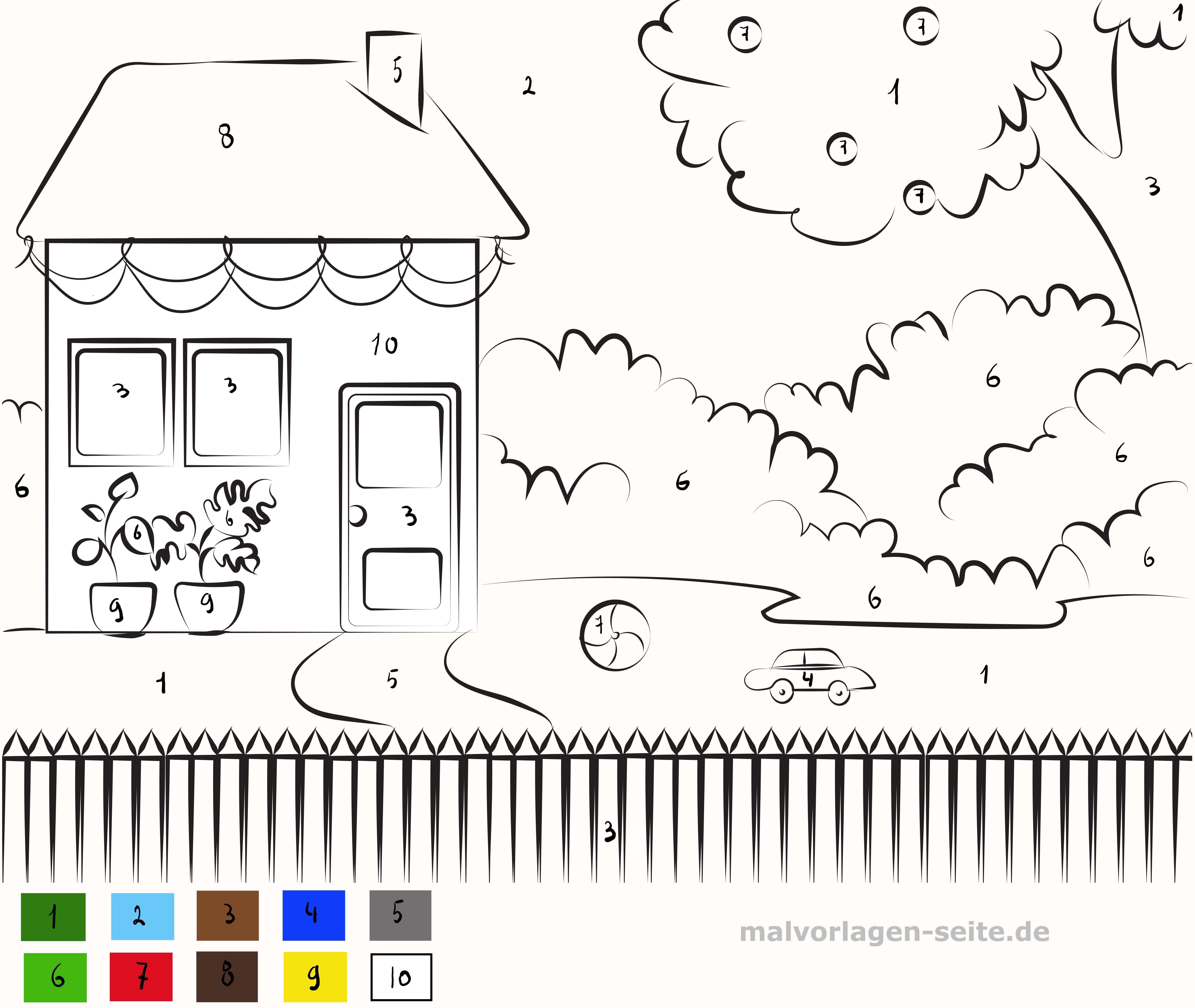Malen Nach Zahlen Haus Mit Garten