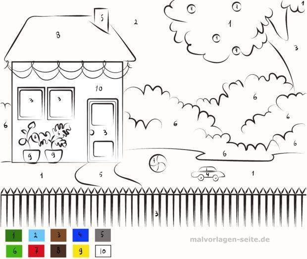 Malen nach Zahlen - Haus mit Garten