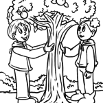 Coloring page picking apple