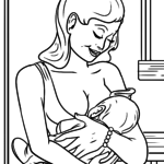 Coloring page baby breastfeeding