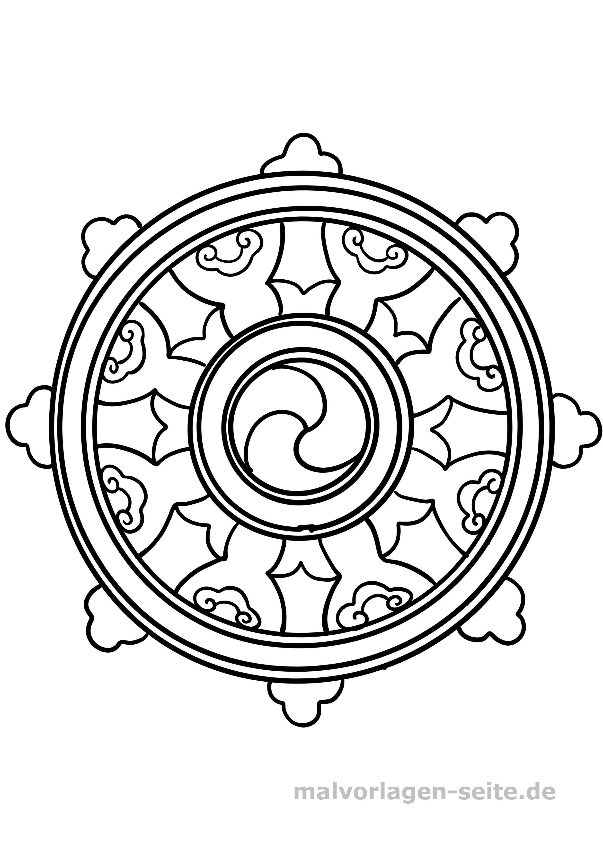 Symbole Malvorlage Buddhismus Rad Coloring And Malvorlagan