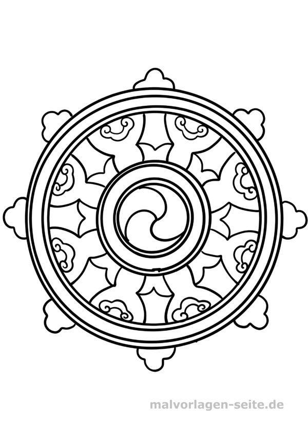 Coloring page Buddhism - Dharma wheel