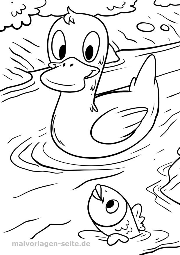 Coloring page duckling on the lake