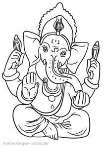 Barvanje stran Hinduizem Ganesha