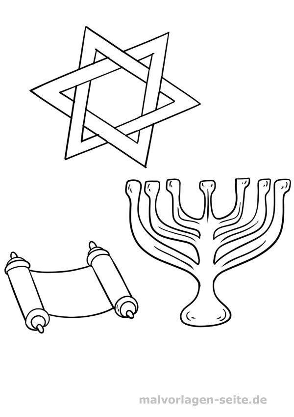 Malvorlage - jüdische Symbole
