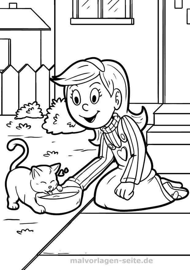 Ausmalbild / Malvorlage Katze