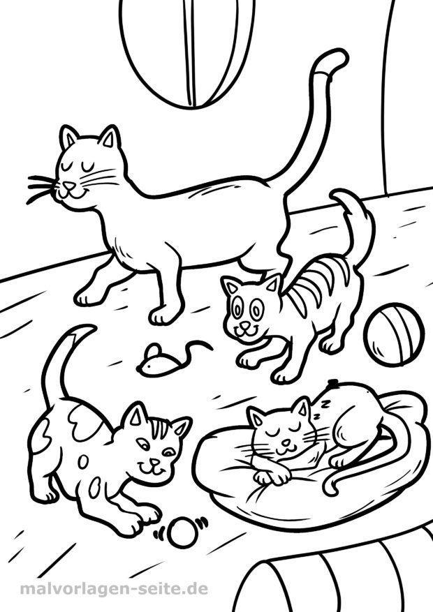 Ausmalbild / Malvorlage Katze und Katzenkinder