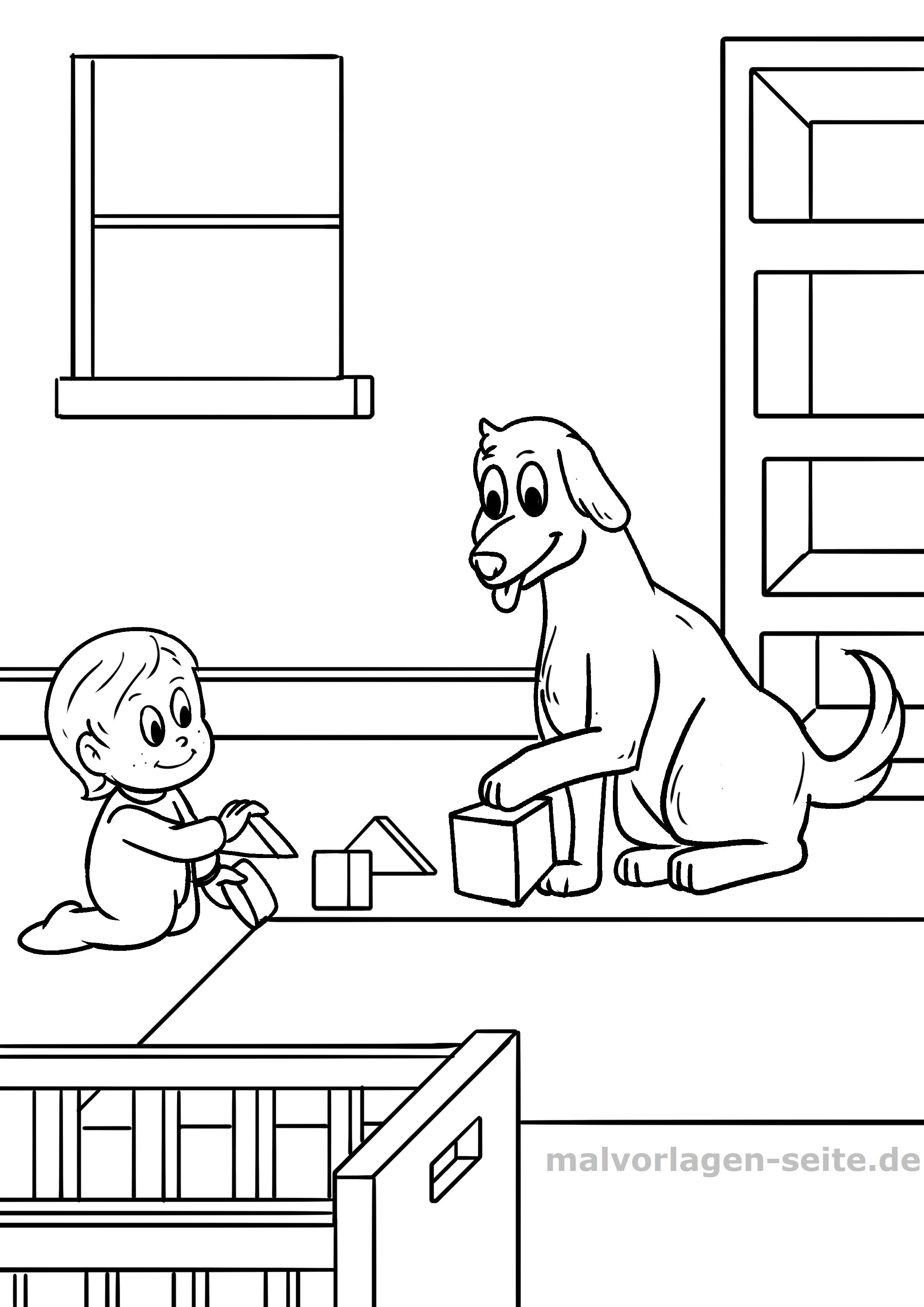 Malvorlage Kind Mit Hund Gratis Malvorlagen Zum Download