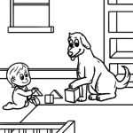 Coloring page child with dog | children