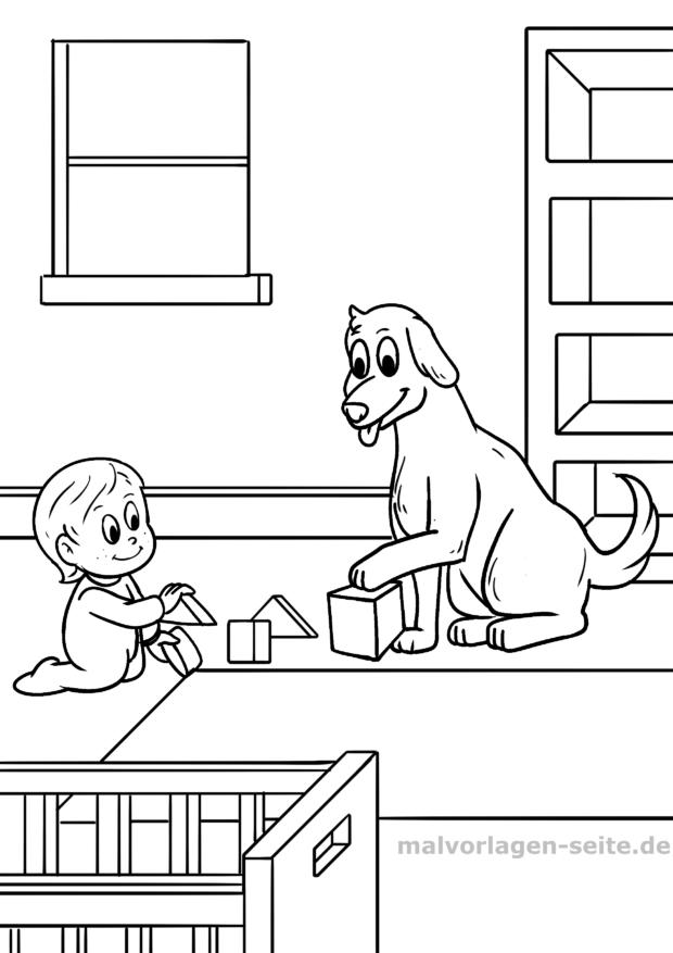 Malvorlage Kind mit Hund