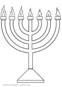 Väritys sivu Juutalaisuus - Menorah