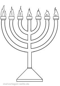 Malvorlage Judentum - Menorah
