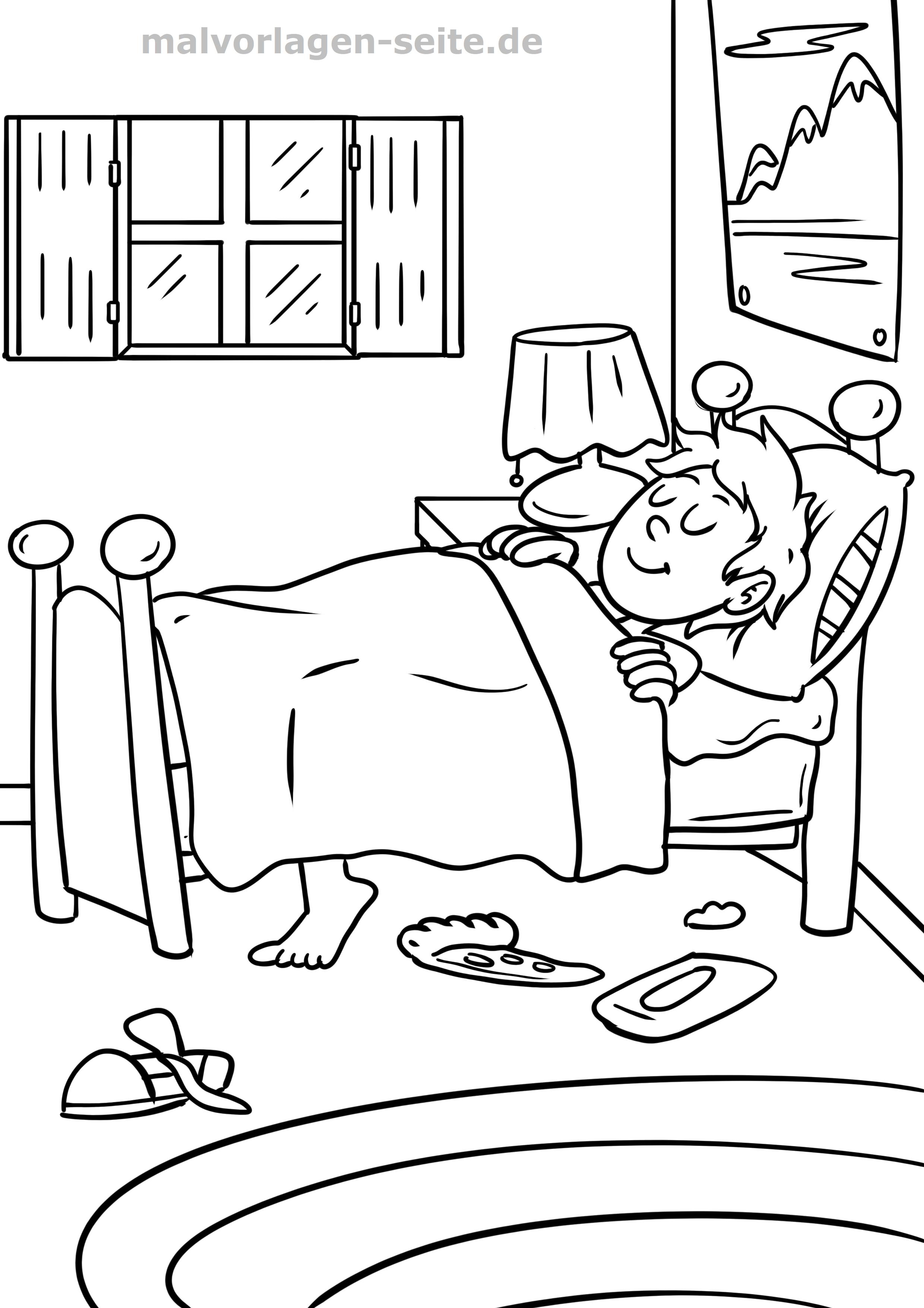 Malvorlage Schlafen Gehen Familie