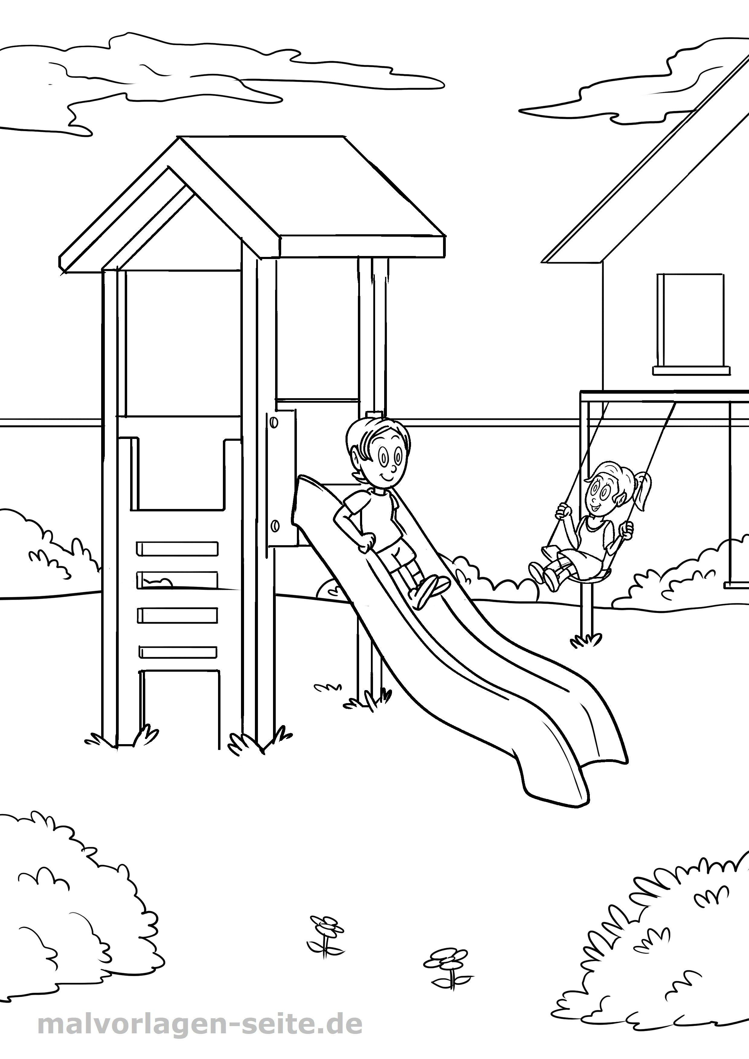 Malvorlage Spielplatz Kinder Spielen