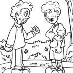 Coloring pages children quarrel