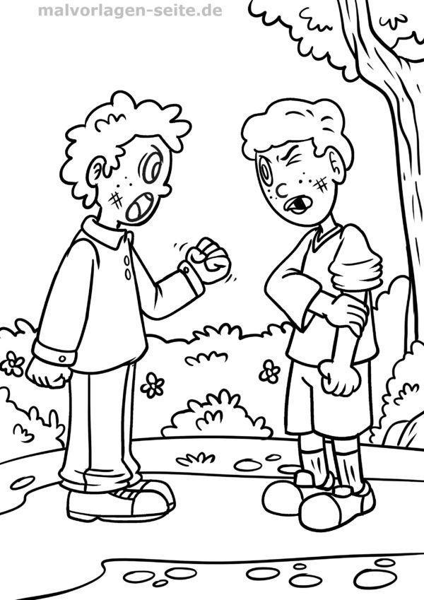 Coloriage enfants qui se disputent