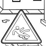 Coloring page road sign danger of slipping
