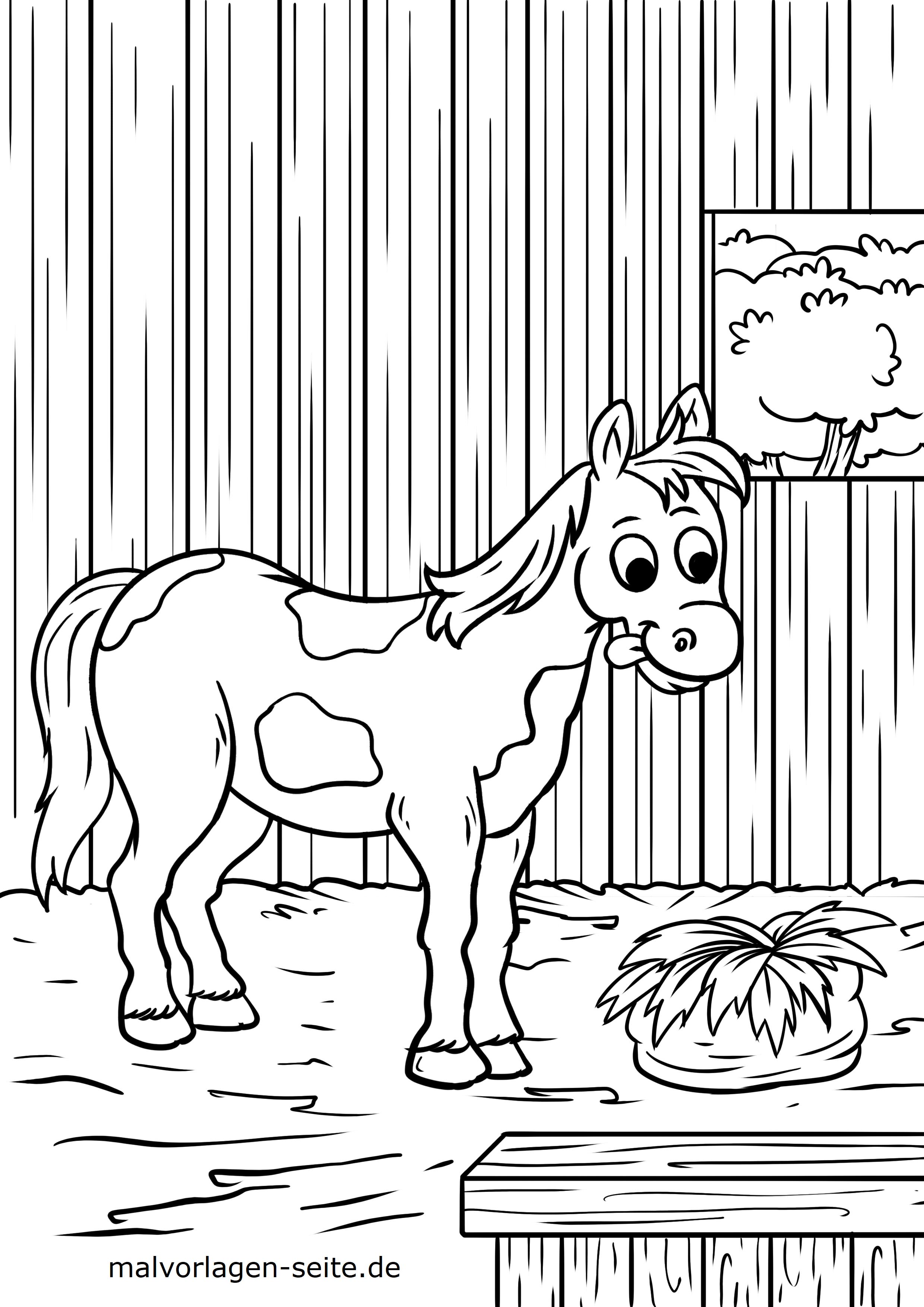 Malvorlage Pferd im Stall | Gratis Malvorlagen zum Download