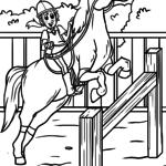 Omalovánky zbarvení stránky koně show skákání