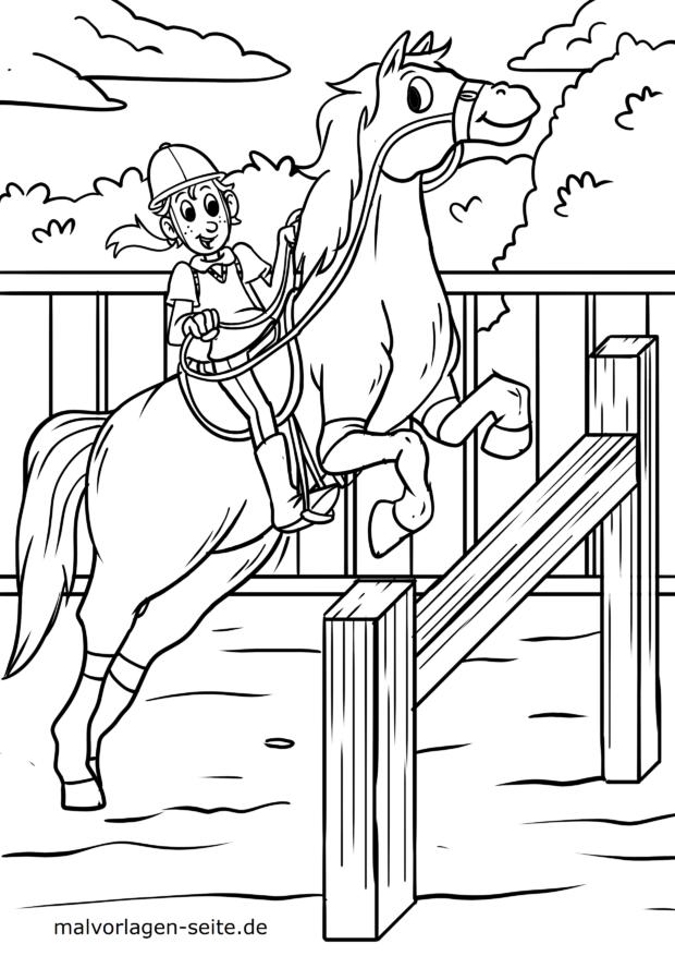 Malvorlage Pferd Springreiten
