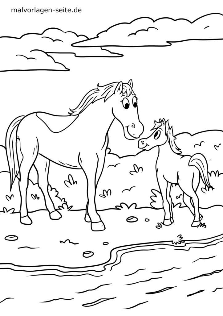 ausmalbilder pferde und reiten kostenlos drucken und ausmalen