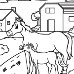 Coloring page horses on the farm