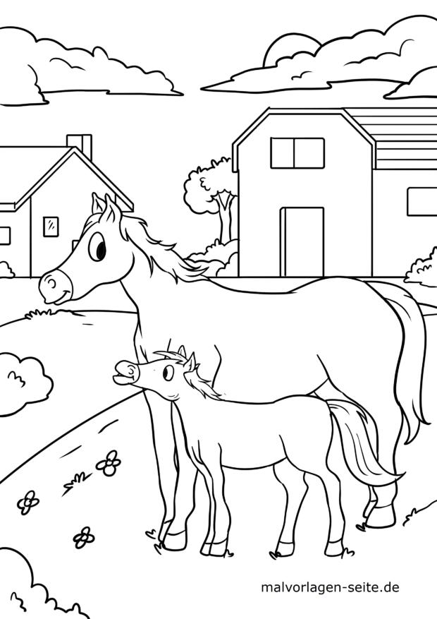 Malvorlage Pferde auf dem Bauernhof