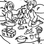 Coloring page Family is having a picnic