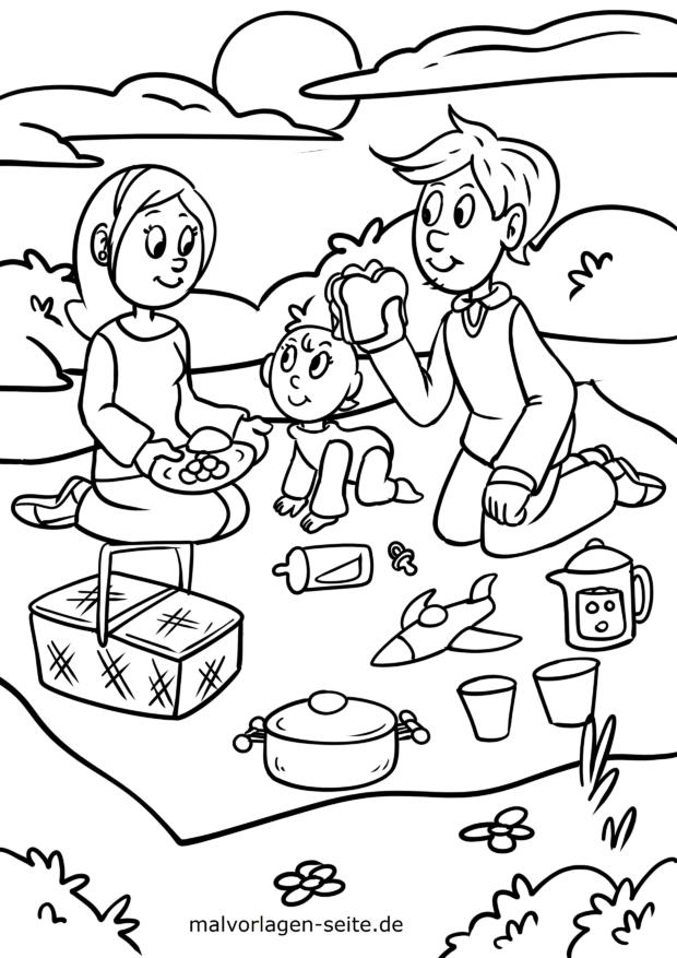 Coloriage famille fait un pique-nique