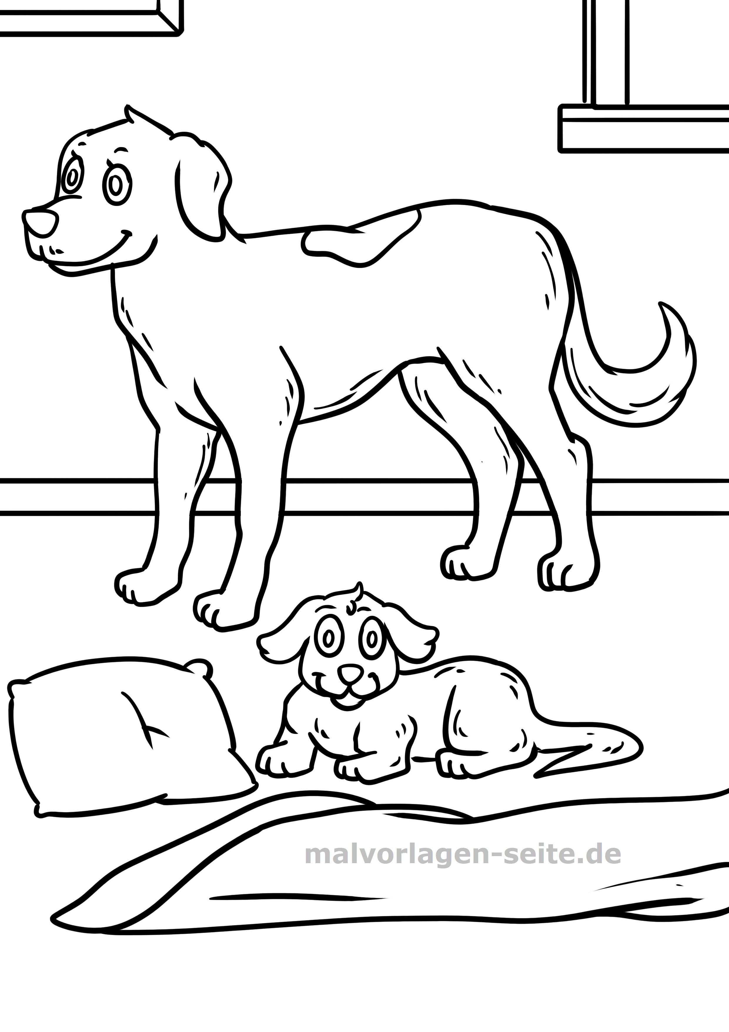 Malvorlage Hund Und Welpe Gratis Malvorlagen Zum Download