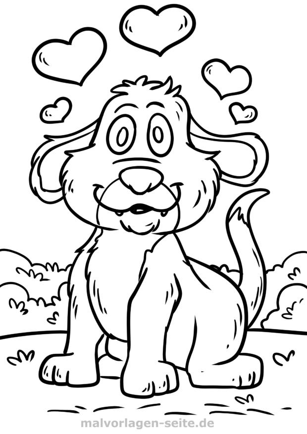 Dibujos Para Colorear Perro Con Corazones