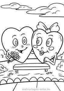 Coloring page hearts and love