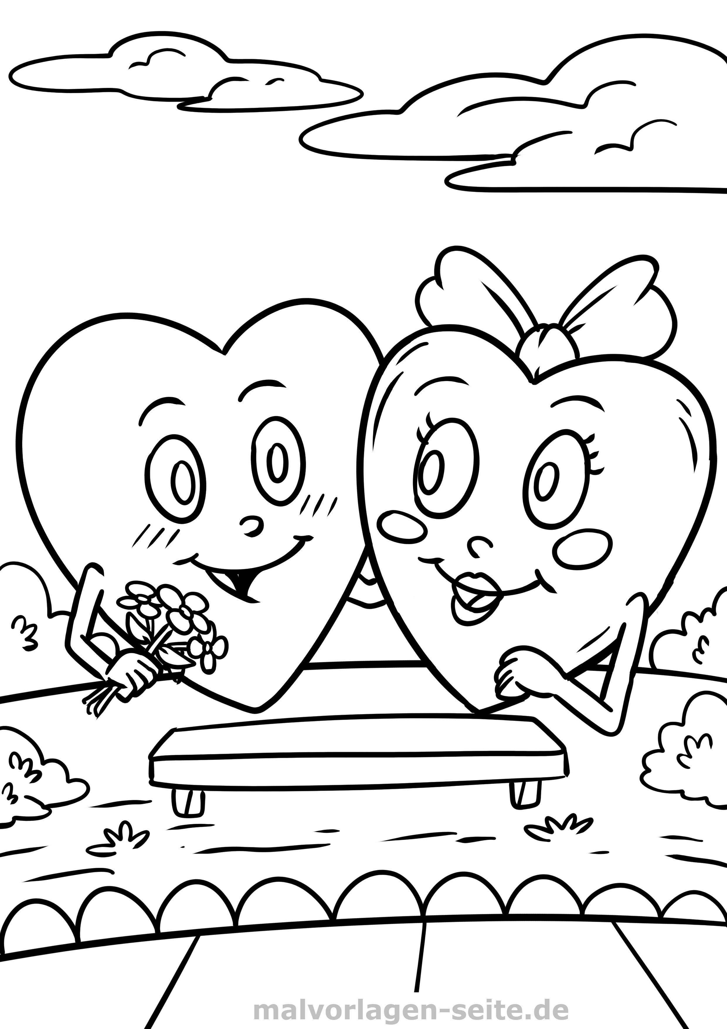 Malvorlage Herzen Die Sich Lieben Liebe Symbol