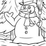 Coloring page snowman | winter