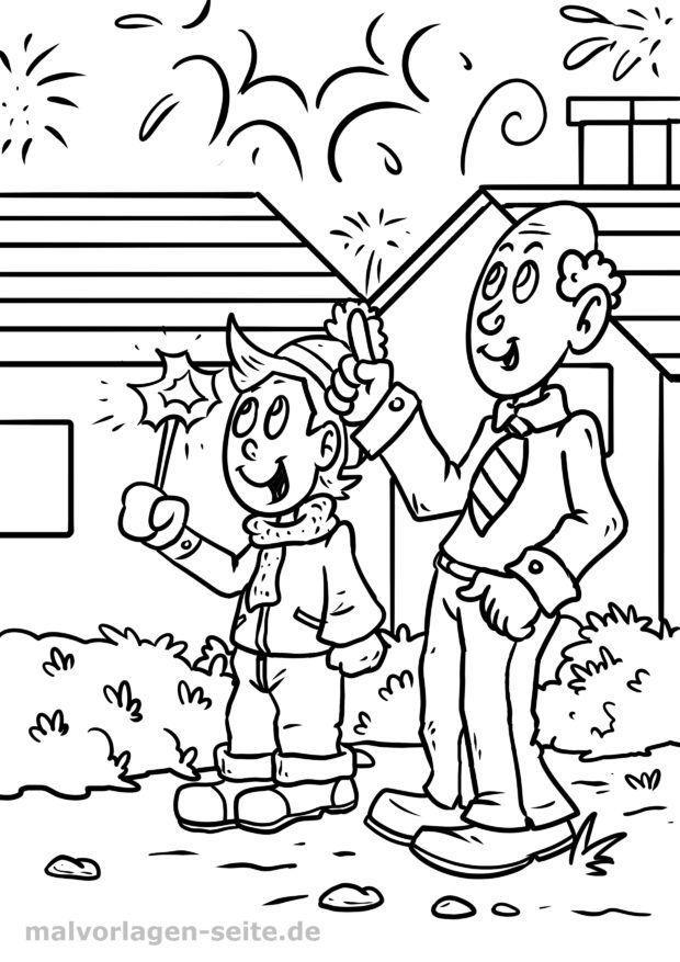Coloring page New Year's Eve fireworks