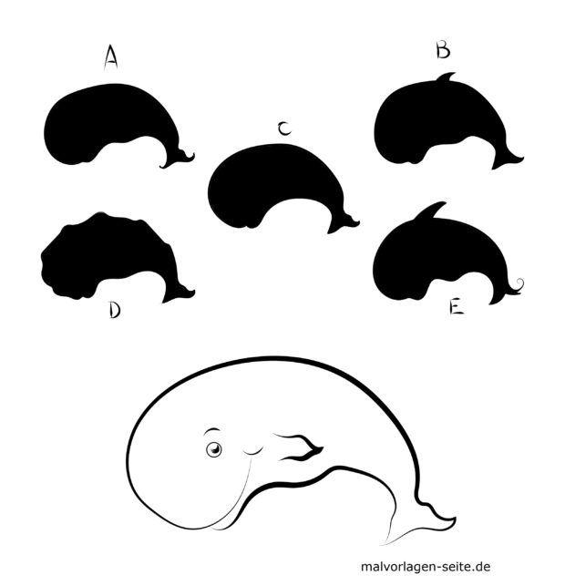 Shadow puzzle for children - whale