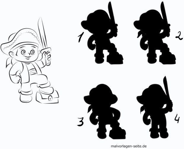 Schatten Rätsel für Kinder - Pirat