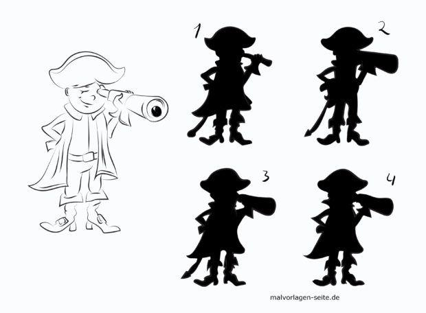 Shadow puzzle for children - pirate