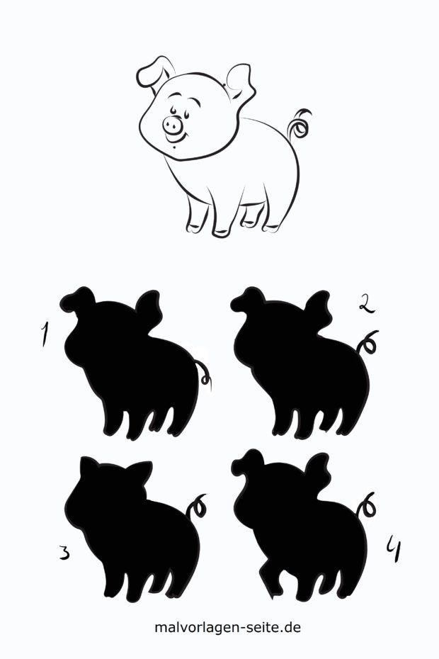 Shadow puzzle for children - pig