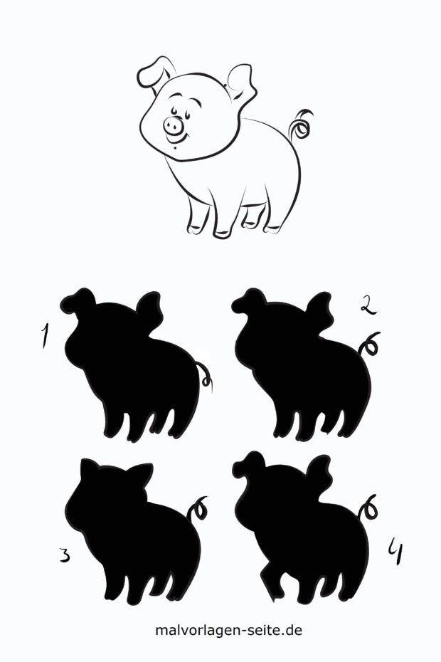 Schatten Rätsel für Kinder - Schwein
